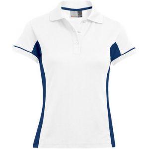 Promodoro Polo fonctionnel Femmes, XS, blanc / indigo