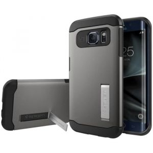 Spigen coque arrière Adapté Samsung Galaxy S7 Edge gris métallisé