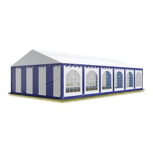 Intent24 TOOLPORT Tente Barnum de Réception 6x12 m ignifugee PREMIUM Bâches Amovibles PVC 500 g/m² bleu-blanc Cadre de Sol Jardin.FR