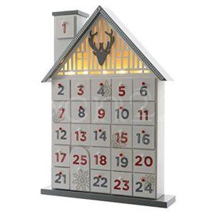 Décoris Calendrier de l'avent étroite maison en bois (32 cm)
