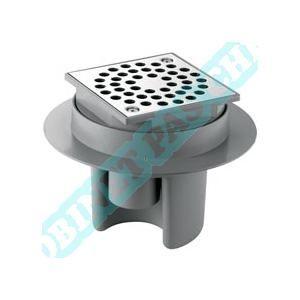 Delabie 682001 - Siphon de sol 100x100 à hauteur réglable jusqu'à 80mm grille inox corps PVC