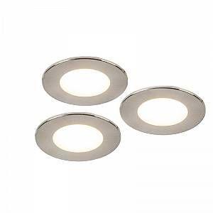 Qazqa Ensemble de 3 spots encastés pour salle de bain LED 5W acier imperméable à l eau - Simply