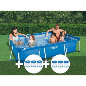 Intex Kit piscine tubulaire rectangulaire 3,00 x 2,00 x 0,75 m + 6 cartouches