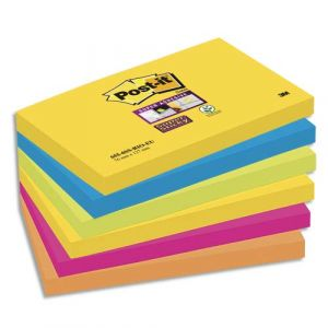 Post-It Bloc Super Sticky 100 feuillets 76 x 127 mm Rio x 6