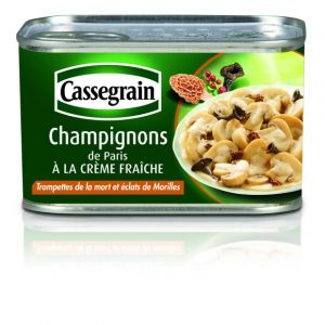 Cassegrain Champignons de Paris à la crème fraîche, trompettes de la mort et éclats de morilles - La boîte de 380g