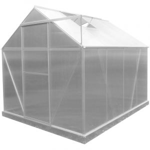 Gardiun Serre De Jardin En Polycarbonate/Aluminium Lunada - 4,82 M² 249 cm x 193 cm x 190 cm Avec Base 4 Modules