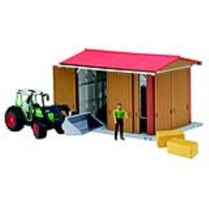Bruder Toys 62620 - Hangar avec figurine, tracteur avec pelle frontale Fendt S et accessoires bworld - Echelle 1:16