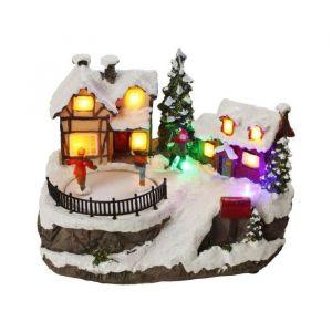 Village patineurs animé LED (15 x 20 cm)