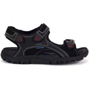 Geox U Sandal Strada WF C, Sandales Bout Ouvert Homme, Noir (Blackc9999), 45 EU