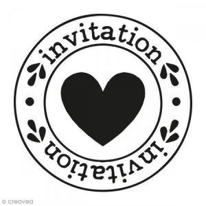 Artémio Kit tampon clear et bloc acrylique - Invitation Coeur - 4,5 x 4,5 cm
