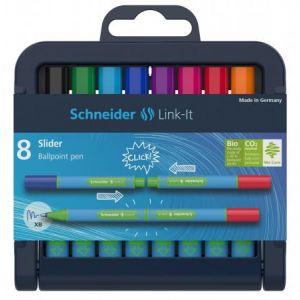 Schneider Electric 154598 - Etui chevalet de 8 stylo-billes Slider Link-It, pointe XB, encres assorties