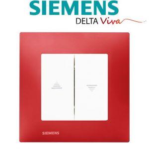 Siemens Interrupteur Volet Roulant Blanc Delta Viva + Plaque Rouge