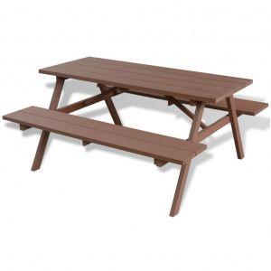 VidaXL Table et bancs de pique-nique 150 x 139 x 72,5 cm WPC