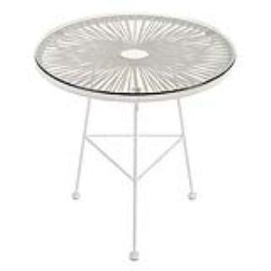 La Chaise Longue Table de jardin ronde Acapulco en acier et plateau en verre Ø50 x 50 cm