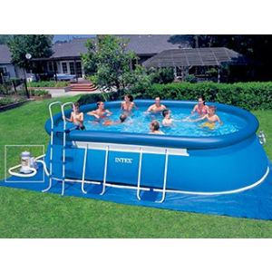 Intex 57982fr piscine hors sol autostable ellipse ovale for Piscine intex tubulaire ovale