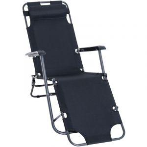 Outsunny Chaise longue transat 2 en 1 pliant inclinable multiposition noir