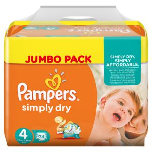 Pampers Simply Dry taille 4 Maxi 7-18 kg - Jumbo Pack 74 couches