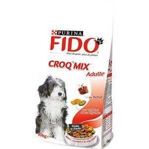 Purina Fido Croq Mix - Croquettes pour chien adulte Boeuf, Céréales & Légumes 10 kg