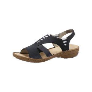 Rieker 608Y7 Femme Sandale à lanières,Sandales à lanières,Chaussures d'été,Confortable,Plat,pazifik/14,36 EU / 3.5 UK