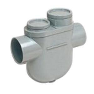 Nicoll YDTB - Siphon diconnecteur monobloc avec 2 tampons de visite avec bouchon PVC (Lg : 56mm diamètre : 100 Femelle femelle)