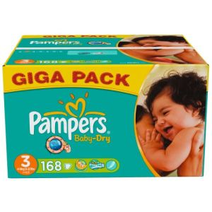 Pampers Baby Dry taille 3 Midi (4-9 kg) - Giga pack x 168 couches