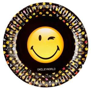 8 assiettes en carton Smiley Emoticons 23 cm