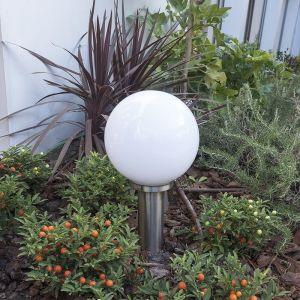 Qazqa Moderne Balise extérieure Sfera Pole 50cm acier inoxydable Plastique/Blanc,Acier Rond/Globe/Jardin/Luminaire/Lumiere/Éclairage