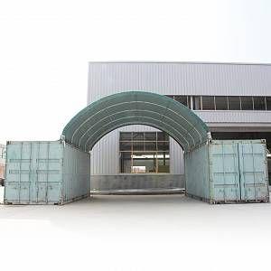Intent24 Abri sur containers 8 x 6 m hall de stockage PVC 720g/m² vert fonce.FR