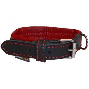 YAGO Collier en cuir - Taille S 27-35 cm - Noir et rouge - Pour petit chien
