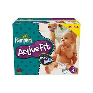 Pampers Active Fit Mega taille 3 midi 4-9 kg - 117 couches
