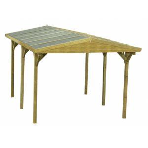 Gaya - Carport double pente en bois traité classe III 19 mm 15,52 m2 avec toit en feutre bitumé