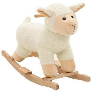VidaXL Mouton à Bascule Peluche Blanc Animal Basculer pour Bébé Jouet Enfant