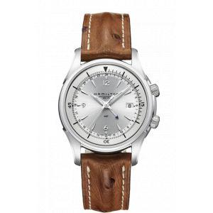 Hamilton Montre Jazzmaster Traveler GMT bracelet cuir d'autruche 42 mm
