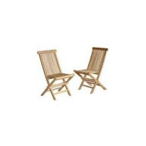 2 chaises de jardin pliantes en teck brut