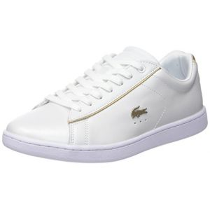 Lacoste Carnaby Evo 118 6 SPW, Baskets Femmes, Blanc (WHT/Or GLD), 40,5 EU