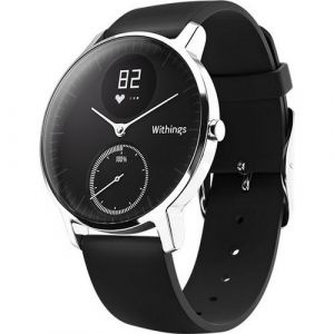 Withings Steel HR 36 mm acier, fond noir - Bracelet silicone noir