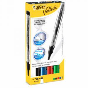 Bic 902094 - Etui de 4 marqueurs effaçables Velleda 1741 Liquid Ink 4,2 mm