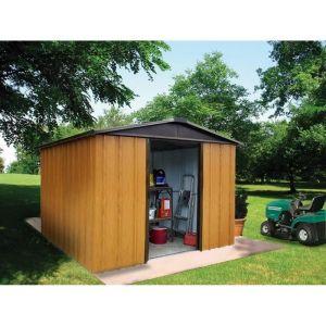 Yardmaster Abri de jardin en métal 7,18m² - Aspect bois et marron - En métal