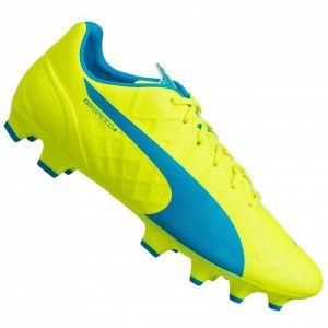 Puma EvoSPEED 4.4 FG, Chaussures de football homme, Jaune (Safety Yellow/Atomic Blue/White), 42.5