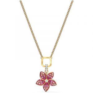 Swarovski COLLIER 5524356 - Collier Métal Doré Fleur Cristaux rose Femme