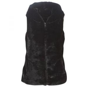 Only Onlvida Faux Fur Hooded Waistcoat OTW Pull sans Manche, Noir Black, L Femme