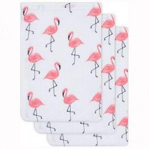 Jollein Lot de 3 gants de toilette hydrophiles Flamant rose
