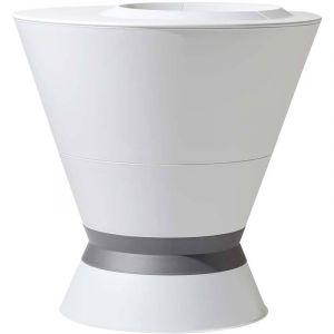 Eda Plastiques Ikone 3 - Pot de fleur rond + pied et soucoupe Ø76 x 74 cm