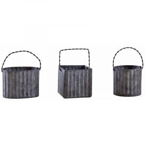Aubry Gaspard Mini cache-pot en métal galvanisé ondulé (Lot de 3)