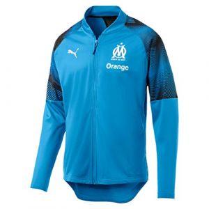 Puma Olympique de Marseille Veste De Survêtement Sponsor Logo with zip Homme, Bleu Azur Black, FR : L (Taille Fabricant : L)