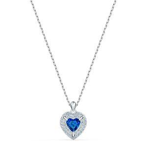Swarovski COLLIER 5511541 - Collier Métal Argenté Coeur Strass et Cristal Bleu Femme