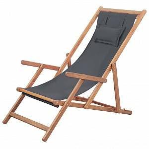 VidaXL Chaise de plage pliante Tissu Gris