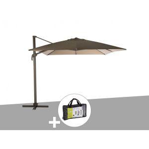 Hesperide Parasol déporté carré Elea 3 x 3 m Tonka/Noisette avec housse de protection