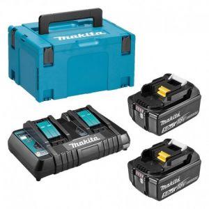 Makita Pack Énergie 18v li-ion 5,0ah (2 batteries + 1 chargeur double) avec coffret makpac