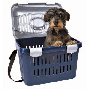 Trixie Cage de transport Capri gris foncé / bleu clair l44 P33 H32 cm pour chien, chat et rongeur